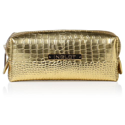 Cosmetic Bag Crocodile Leather Pattern Gold Small