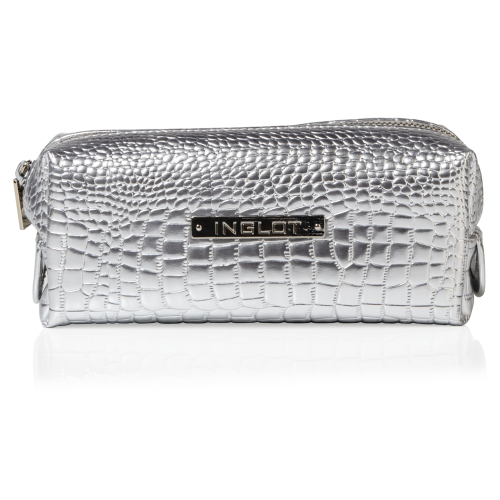 Cosmetic Bag Crocodile Leather Pattern Silver Small