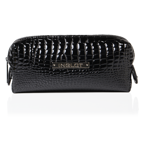 Cosmetic Bag Crocodile Leather Pattern Black Small