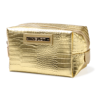 Cosmetic Bag Crocodile Leather Pattern Gold
